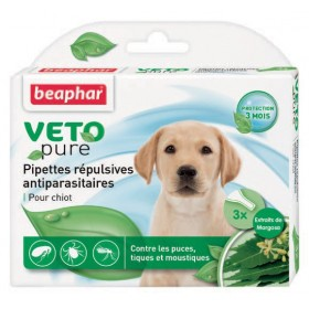 3 pipettes antiparasitaires chiot Beaphar