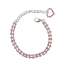 Collier 2 rangs de strass rose