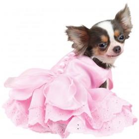 Robe rose avec dentelle