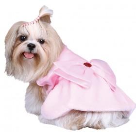Robe rose avec nœud pour chien