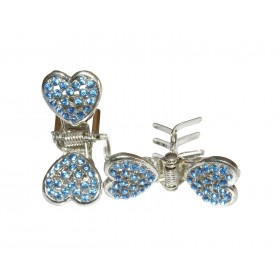 Pince strass double coeur
