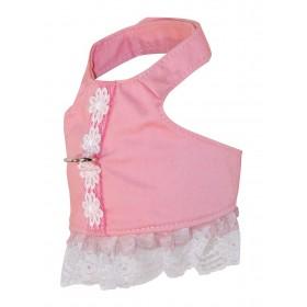 Harnais robe rose avec fleur