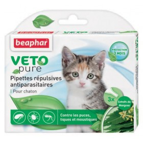 3 pipettes antiparasitaires chaton Beaphar