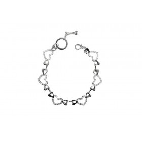 Collier coeur strass et chrome