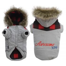 Manteau chien à capuche gris bord écossais