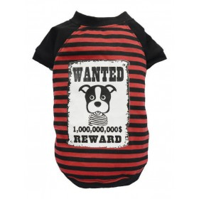 T-shirt bouledogue ou carlin rayé noir et rouge WANTED