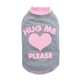 T-shirt chien gris/rose HUG ME