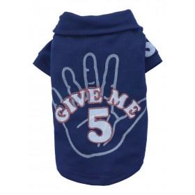 "T-shirt chien bleu ""Give me 5"""