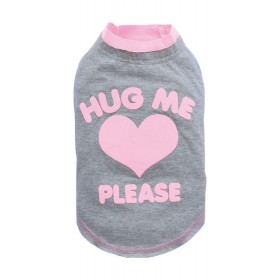 T-shirt grand chien gris/rose HUG ME