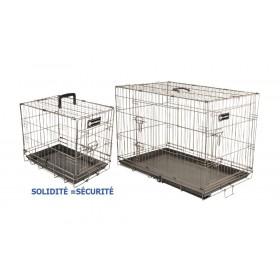 Cage métal taupe pliante fond ABS pour transport chien
