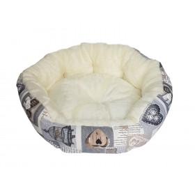 Corbeille ovale beige SHABBY avec fourrure