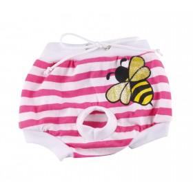 Culotte rayée rose et blanc motif abeille