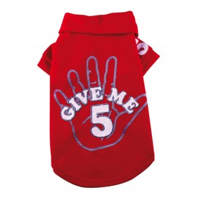 "T-shirt rouge ""Give me 5"""