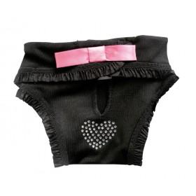 Culotte hygiène fantaisie noire avec coeur en strass