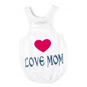 """T-shirt blanc """"I love mom"""""""