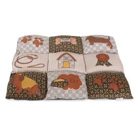 Coussin patchwork marron